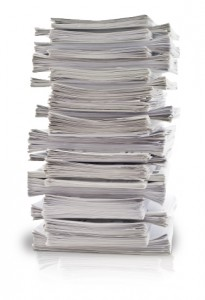 Papers organized and stacked